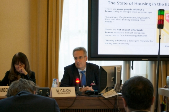 Marc Calon addressing UNECE HLM / Photo: Cecil Batac