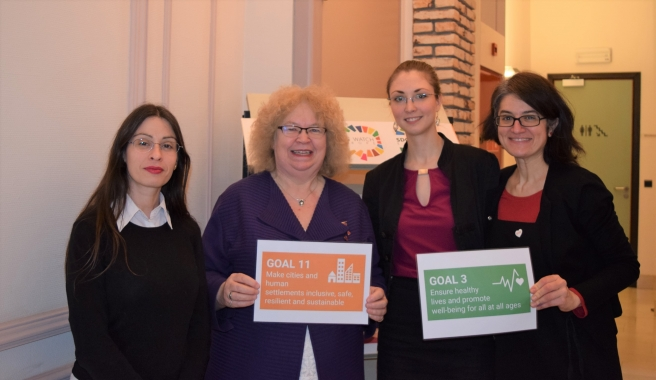 From left to right: Eva Izquierdo-EEB, MEP Jean Lambert, Edit Lakatos-Housing Europe, Barbara Caracciolo-SOLIDAR