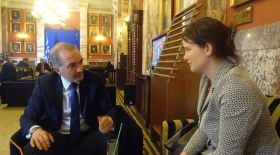 Sorcha Edwards with the Opposition Party, New Democracy, Shadow Minister for Social Solidarity, Marios Salmas