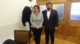 Sorcha Edwards with the Director of the Parliamentary Group of the governing party, SYRIZA, Kostas Zachariadis