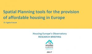 Spatial Planning tools for the provision of affordable housing in Europe