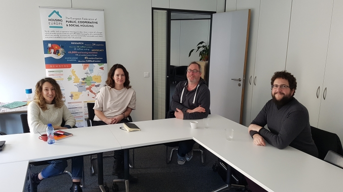 Housing Europe Secretary General, Sorcha Edwards and Research Coordinator, Alice Pittini met with the representatives of Community Land Trust Brussels, Geert De Pauw and Joaquín de Santos- who is also the Project Officer.