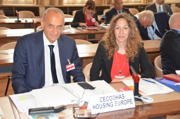 Our Research Coordinator, Alice Pittini and Marco Corradi from our Italian member organisation, Federcasa